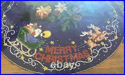 1993 Bucilla 83019 43 Felt Christmas Tree Skirt Merry Christmas Santa Sealed