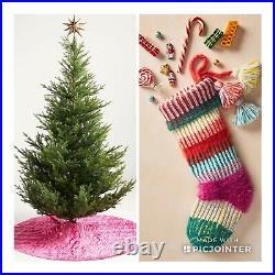 2 Anthropologie Rory Velvet Kantha Heirloom Christmas Tree Skirt & Pink Stocking