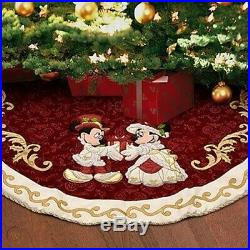 2010 Disney Parks Mickey Victorian Christmas Tree Skirt + Topper + Stocking Set