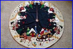 47 Hand made Wool Flannel Santa Reindeer Snowman Village CHRISTMAS TREE SKIRT