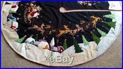 59.5- 60 Hand made Wool SANTA SLEIGH REINDEER Scene CHRISTMAS TREE SKIRT