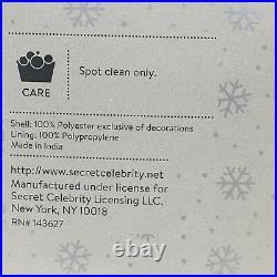 5pc Kim Seybert SILVER 62 Christmas Tree Skirt 4 Stocking Set Beaded Designer