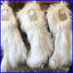 5pc Nicole Miller Mongolian Lamb Faux Fur Christmas Tree Skirt 4 Stocking Set