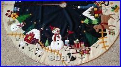 60 Hand made Wool Flannel Felt Bead Santa Reindeer Snowman CHRISTMAS TREE SKIRT