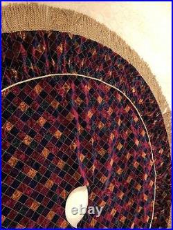 72 Xmas Tree Skirt Harlequin Velvet / Dk. Purple Satin With Gold Bullion Cording