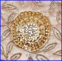 ARCADIA HOME Hand Beaded Floral Christmas Silver Velvet-60 Tree Skirt