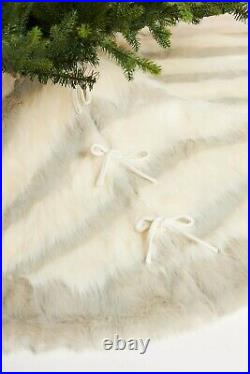 Anthropologie Josie Faux Fur Tree Skirt Plush Animal Stripe 60 Hygge Ivory Gray