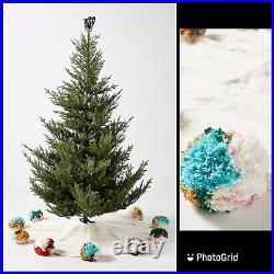 Anthropologie Jubilant Christmas Tree Skirt 60 Pom Multicolor Folk HUGE $278
