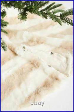 Anthropologie Patterned Faux Fur Tree Skirt-$148 MSRP