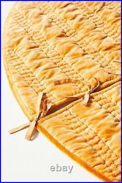 Anthropologie Rory Tree Skirt Maize Mustard Gold 60 Velvet Modern Glam