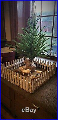 Antique Primitive White Wood Farmhouse Christmas Feather Tree Fence Stand Skirt