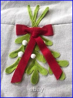 Arcadia Home Beige Linen 60 Christmas Tree Skirt Mistletoe Red Bows New