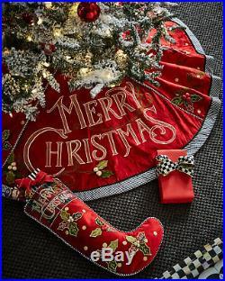 Authentic Mackenzie Childs Merry Christmas Tree Skirt