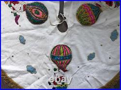 BUCILLA 43 Christmas Tree Skirt Up & Away Santa Hot Air Balloon Finished Vtg