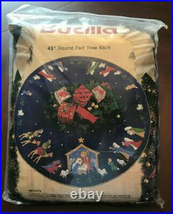 BUCILLA BLUE FELT NATIVITY TREE SKIRT Applique Kit Christmas #82720 43 NEW