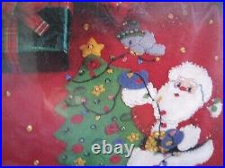 BUCILLA Felt Applique Christmas TREE SKIRT Kit, SANTA AND WOODLAND FRIENDS, 33586