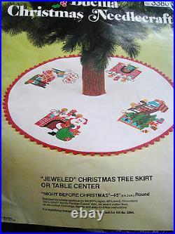 BUCILLA Felt Holiday Applique TREE SKIRT Kit, NIGHT BEFORE CHRISTMAS, #3380,45