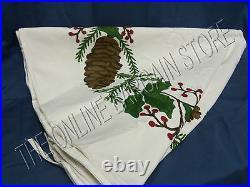 Ballard Designs Pine Cone Christmas Holiday Crewel Mantle Stockings Tree Skirt