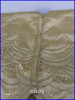 Balsam Hill 60 inch Gold Beaded Elizabeth Tree Skirt Scalloped Edge Open Box NEW