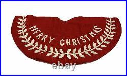 Balsam Hill 60 inch Merry Christmas Felt Tree Skirt NEW $169 Red/White