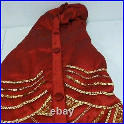 Balsam Hill 72 Cranberry Red Elizabeth Beaded Tree Skirt - NewithOpen Box