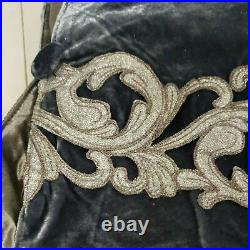 Balsam Hill, 72 French Blue Velvet, Tree Skirt, Silver Scrolling, NewithOPEN
