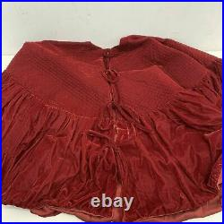 Balsam Hill 72' Quilted Velvet Tree Skirt with Ruched Border Bordeaux NEW