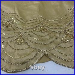 Balsam Hill 72 inch Gold Beaded Elizabeth Tree Skirt Scalloped Edge Open Box NEW
