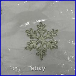 Balsam Hill Beaded Snowflake Tree Skirt 60 NEW White (4003500)