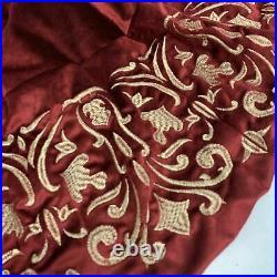 Balsam Hill Luxe Embroidered Velvet Tree Skirt Red/Gold (Store Return) 60. $159