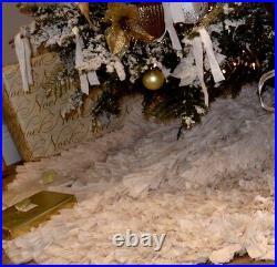 Beautiful all ruffled Christmas Tree Skirt holiday tree decor elegant vintage
