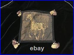 Black Velvet Safari Series Gold Accent Christmas Tree Skirt with Tassels 57