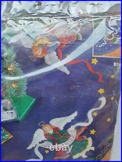 Bucilla CELESTIAL ANGELS' Blue Felt Christmas 43 Tree Skirt Kit #83669 NEW