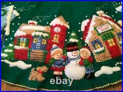 Bucilla Christmas Felt Sequin Village Tree Skirt Completed