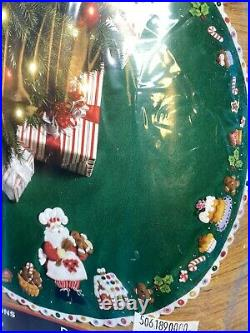 Bucilla Discontinued Santa's Sweet Shop Felt Christmas Tree Skirt Kit OOP