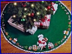 Bucilla Discontinued Santa's Sweet Shop Felt Christmas Tree Skirt Kit OOP RARE