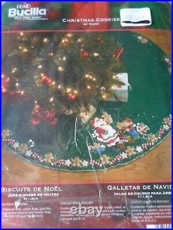 Bucilla Felt Jeweled 44 Round Christmas Cookies Tree Skirt Kit #86149 New Open