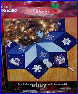 Bucilla LET IT SNOW Felt Christmas Tree Skirt Kit BlueSterilized Snowman Mint