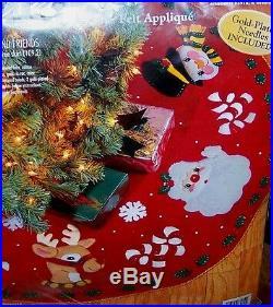 Bucilla SANTA & FRIENDS Felt Christmas Tree Skirt Kit Sterilized RARE MINT OOP