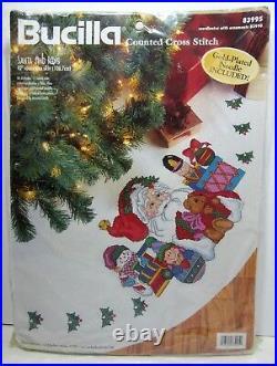 Bucilla SANTA & TOYS 42 Christmas Tree Skirt Counted Cross Stitch Kit 83995