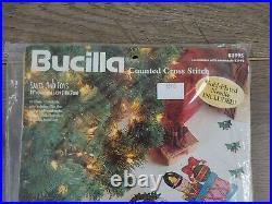 Bucilla SANTA & TOYS 42 Christmas Tree Skirt Counted Cross Stitch Kit # 83995