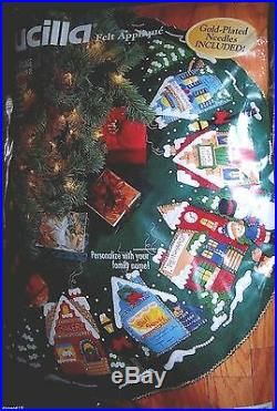 Bucilla Santa CHRISTMAS VILLAGE Felt Tree Skirt Kit Sterilized CHURCH CHILDREN