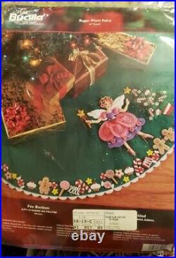 Bucilla Sugar Plum Fairy Felt Christmas Tree Skirt Kit OOP Angel Princess 85445