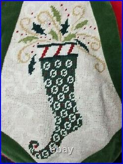 C&F Enterprises Dancing Stocking Needlepoint/Velvet Christmas Tree Skirt 54 EC