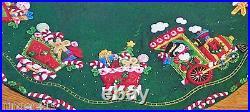 CANDY EXPRESS TRAIN Felt Christmas Tree Skirt Kit Bucilla Original Factory New