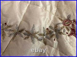 CELERIE Tree Skirt & 4 Stockings METALLIC Embroidered LUXURY Christmas BOWS NWT