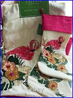 Celerie Kemble Christmas Holiday Flamingo Beaded Tree Skirt & 2 Stocking Set NWT