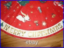 Charming Vintage Walt Disney 1950's Christmas Tablecloth Centerpiece Tree Skirt