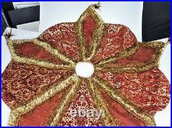 Chateau Christmas Holiday 54 Tree Skirt Fringe Feathers Brocade Renaissance