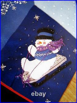 Christmas BUCILLA Felt Applique Holiday TREE SKIRT Kit, LET IT SNOW, Snowmen, 84599
